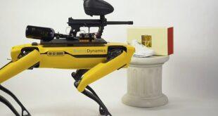 Controla un perro robot con pistola de paintball en este sitio web